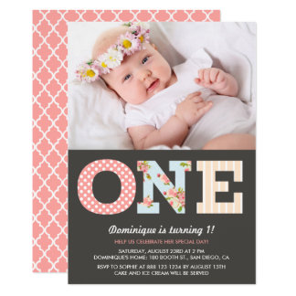 Girly Shabby Chic-erste Geburtstags-Foto-Einladung 12,7 X 17,8 Cm Einladungskarte