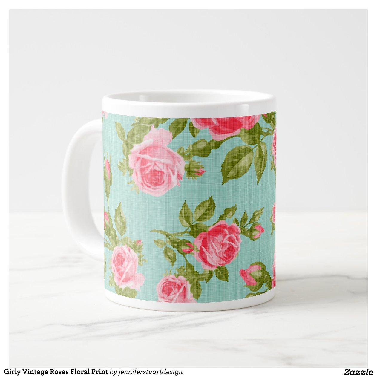 Tassen Jumbo : Girly vintage rosen blumendruck jumbo tasse zazzle