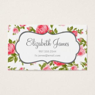 Girly Vintage Rosen-Blumendruck Visitenkarte
