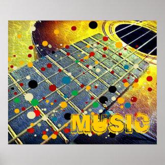 Gitarre reiht buntes Vintages der Musik auf Poster