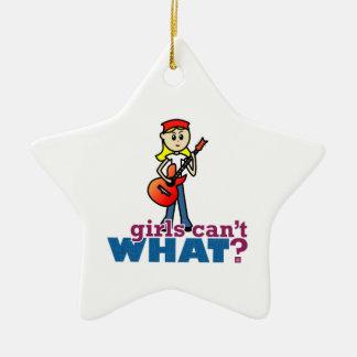 Gitarren-Mädchen Keramik Stern-Ornament