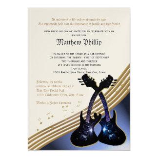 Gitarren-Musik-Bar Mitzvah 12,7 X 17,8 Cm Einladungskarte