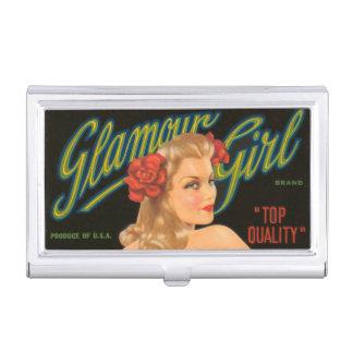 Glamour-Mädchen-Retro Vintages Button herauf Visitenkarten-Halter