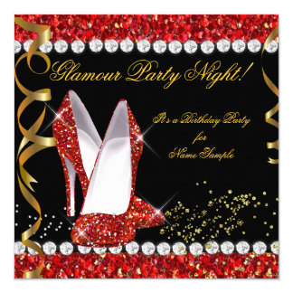 Glamour-Party-Nachtrote Glitter-Goldschwarz-Schuhe Karte