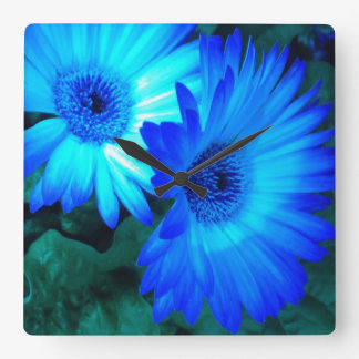 Glänzende blaue Gänseblümchen-Wanduhr Wanduhr