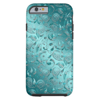 Glänzender Paisley-Türkis Tough iPhone 6 Hülle