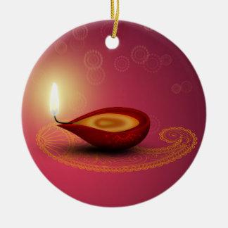 Glänzendes glückliches Diwali Diya - Verzierung Rundes Keramik Ornament