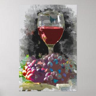 Glas des Weins und des Hügels der Trauben im Poster