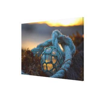 Glasfischenfloss, Sonnenuntergang, Alaska Leinwanddruck
