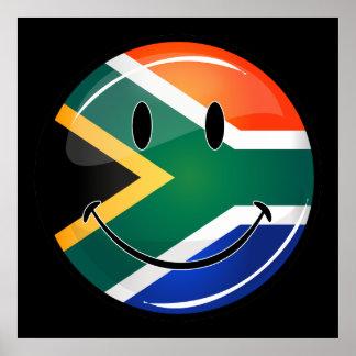 Glatte runde glückliche südafrikanische Flagge Poster