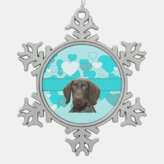 Glatter Graubär im Blau Schneeflocken Zinn-Ornament