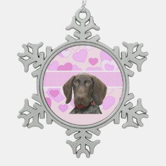 Glatter Graubär im Rosa Schneeflocken Zinn-Ornament