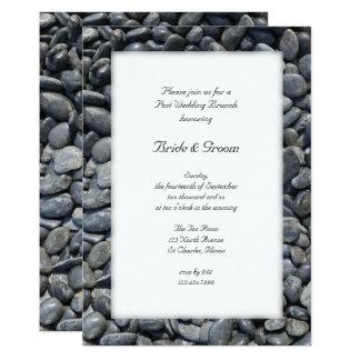 Glatter schwarzer Kiesel-Posten-Hochzeits-Brunch 12,7 X 17,8 Cm Einladungskarte