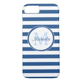 Glattes Monogramm mit fetten blauen und weißen iPhone 8/7 Hülle