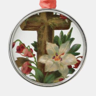 Glaube, der Vintage hölzerne Querrebemit Rundes Silberfarbenes Ornament