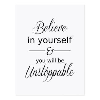 Glauben Sie an selbst inspirierend Zitat-Postkarte Postkarte