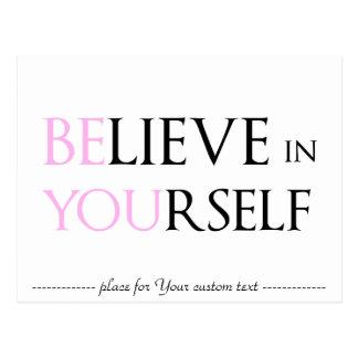 Glauben Sie an selbst - sind Sie Motivationszitat Postkarte