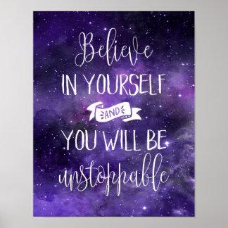 Glauben Sie an selbst Zitat Poster