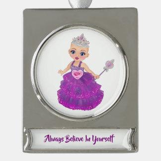 Glauben Sie immer an selbst Prinzessin Ella Banner-Ornament Silber
