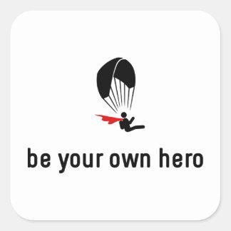 Gleitschirmfliegen-Held Quadrat-Aufkleber