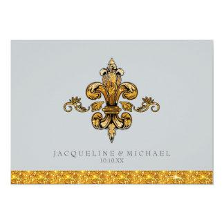 Glitter-Blick-Imitat-Goldschwarz-formale Lilie 12,7 X 17,8 Cm Einladungskarte