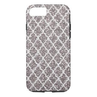 Glitter-Effekt-silbrige Pflaume Quatrefoil iPhone 8/7 Hülle