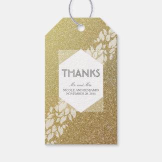 Glitter-Gold-und Weiß-Blätter-Lorbeer-Hochzeit Geschenkanhänger