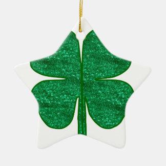 Glitter-Kleeblatt Keramik Stern-Ornament