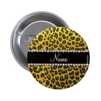 Glitter-Leopardneondruck des individuellen Namens Runder Button 5,1 Cm