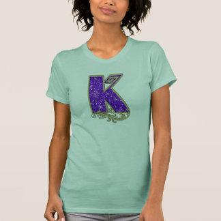 Glitter-Monogramm lila K T-Shirt