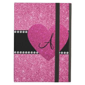 Glitter-Rosaherz des Monogramms rosa