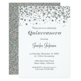 Glitter silberne Confetti Quinceanera Einladung