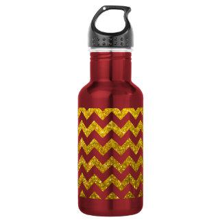 Glitter-Zickzack gelbes Gold Trinkflaschen