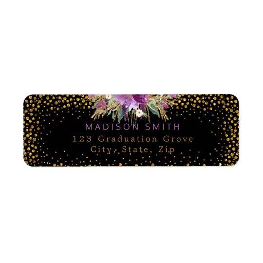 Glitterwatercolor-Blumen-Goldconfetti-Schwarzes Rücksende Aufkleber