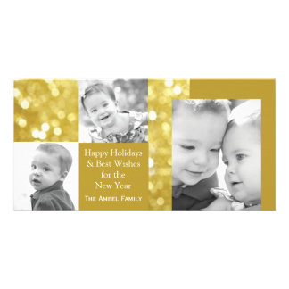 Glittery Foto-Karte des Gold| Feiertags-drei Photokartenvorlage