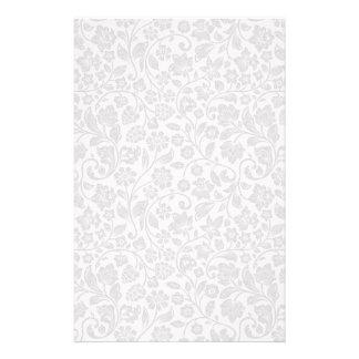 Glittery silbernes Blumen auf Weiß Personalisiertes Büropapier