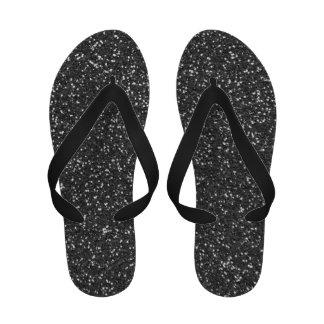 Glitz-drehen bezaubernde schwarze Glitter-Zapfen R Flip-Flop