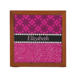 Glitzer-rosa und schwarze Muster-Kristall Stifthalter
