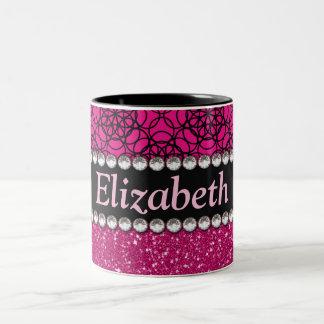Glitzer-rosa und schwarze Muster-Kristall Zweifarbige Tasse