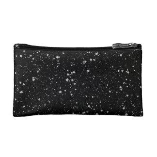 Glitzer Stars2 - Silbernes Schwarzes Makeup-Tasche