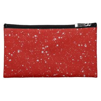 Glitzer-Sterne - silbernes Rot Kosmetiktasche