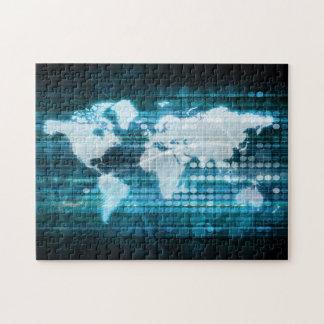 Globales Technologie-Konzept Digital abstrakt Puzzle