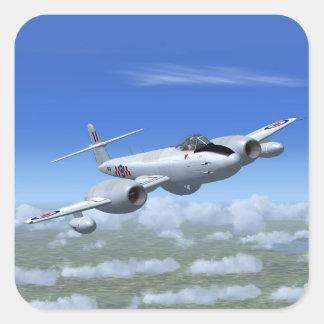 Gloster Meteor-Jet-Kämpfer-Flugzeug Quadratischer Aufkleber