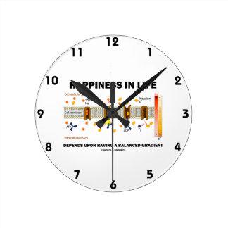 Glück im Leben hängt nach dem Balancieren ab Runde Wanduhr