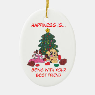 Glück ist… Weihnachtsverzierung Ovales Keramik Ornament