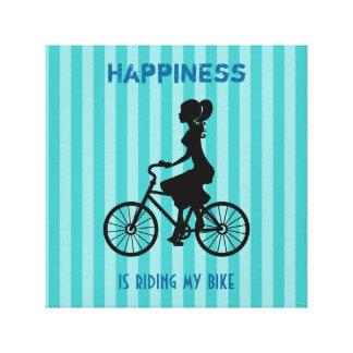 Glück reitet mein Fahrrad - Radfahrer-Silhouette Leinwand Drucke