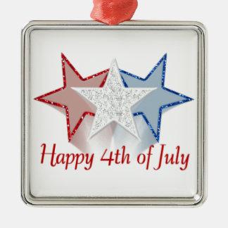 Glücklich Juli 4. Quadratisches Silberfarbenes Ornament