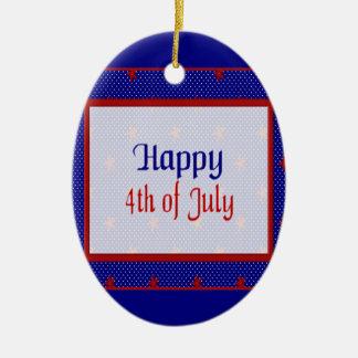 Glücklich spielt Juli 4., Rot auf Blauem und Ovales Keramik Ornament