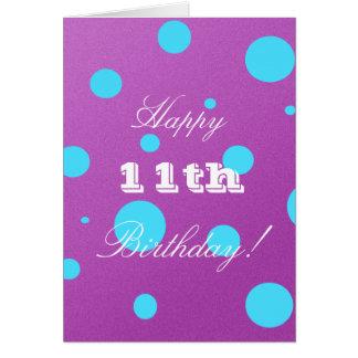 Glückliche 11. Geburtstags-Karte für Mädchen Grußkarte