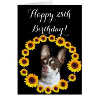 Glückliche 28. Geburtstags-Chihuahua-Gruß-Karte Mitteilungskarte